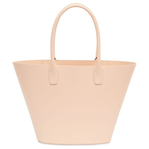 Mansur Gavriel Triangle Calf Tote Bag in pink - Mansur Gavriel tote bag in smooth calf leather. Rolled...
