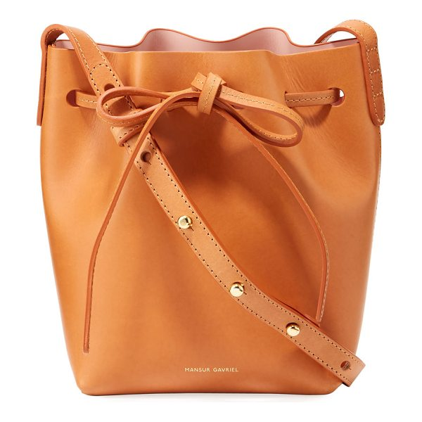 Mansur Gavriel Vegetable-Tanned Leather Mini Mini Bucket Bag in cammello/rosa