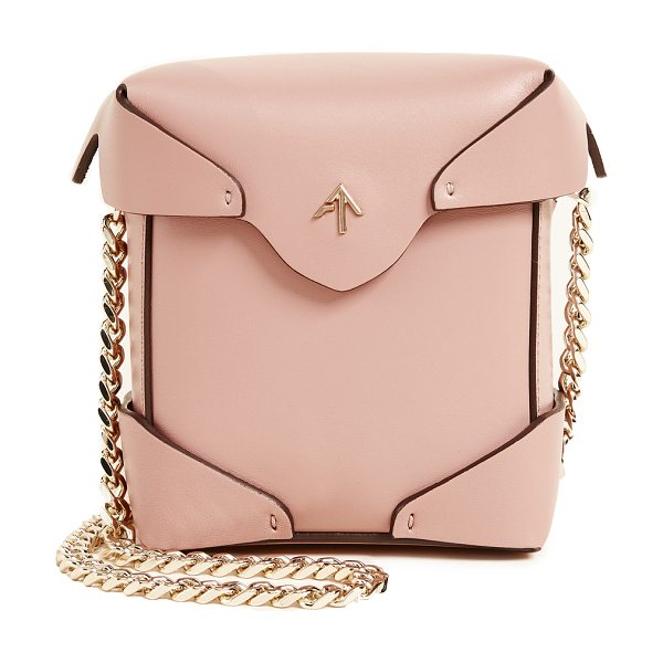Manu Atelier micro pristine box bag in rose - A boxy MANU Atelier bag in smooth leather. The magnetic...