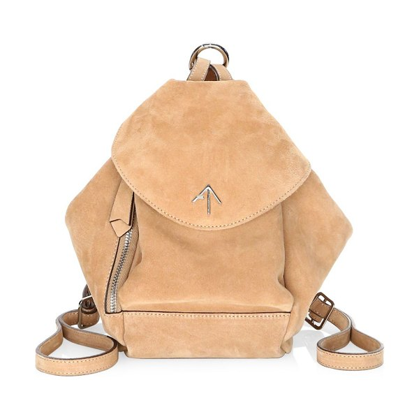 Manu Atelier mini fernweh suede backpack in poudre - Fernweh has two comfortable adjustable straps which...