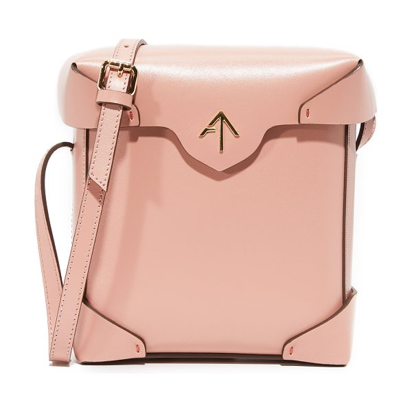 MANU ATELIER mini pristine box bag in rose - A boxy MANU Atelier bag in smooth leather. The magnetic...