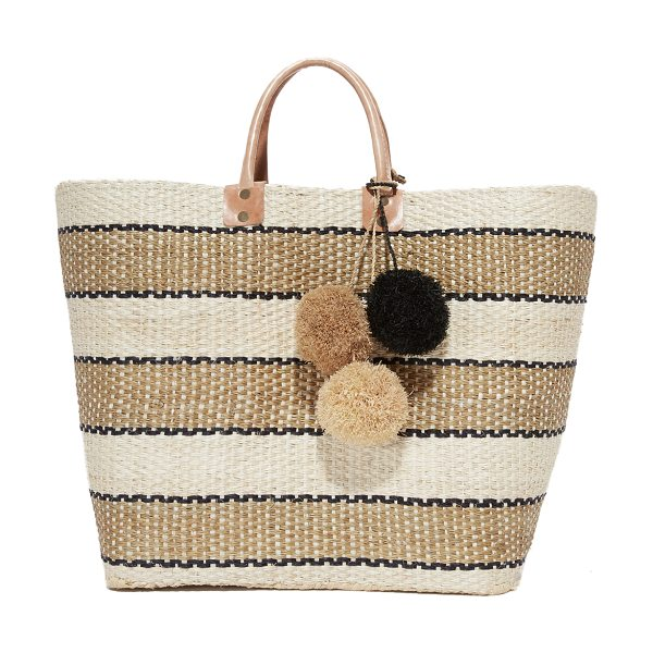 Mar y Sol capri tote in natural/black - Two-tone tassels accent this striped straw Mar Y Sol...