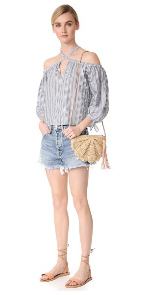 MAR Y SOL zoe cross body bag in natural - A slim Mar Y Sol cross-body bag in woven straw. A...
