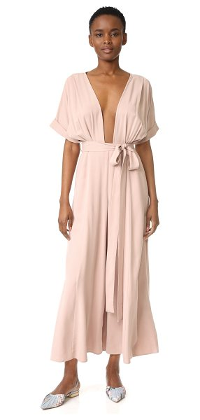 Mara Hoffman brushed modal deep v jumpsuit in mauve - A brushed finish lends velvety softness to this slinky...