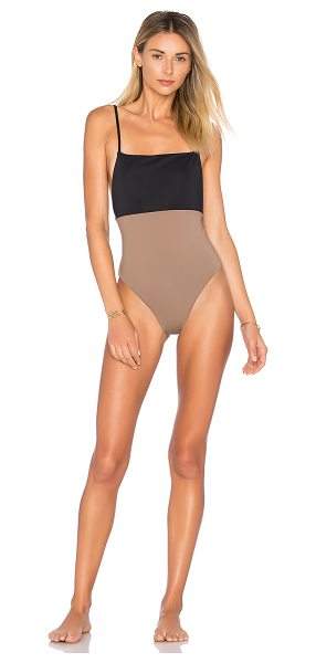 Mara Hoffman Combo One Piece in brown - Colorblocking takes to the beach with Mara Hoffman's...