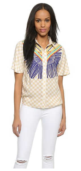Mara Hoffman Embroidered button down shirt in vanster stone - A preppy Mara Hoffman blouse in checkered crepe,...