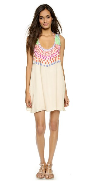 Mara Hoffman Embroidered gauze mini dress in stone - A flared Mara Hoffman mini dress cut from crinkled...