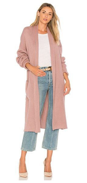 Mara Hoffman Estela Duster Cardigan in mauve - Cotton blend. Rib knit fabric. Draped open front. Side...