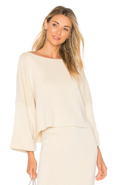 Mara Hoffman Eva One Shoulder Sweater in cream - Cotton blend. Rib knit fabric. Cuffed sleeves. Side seam...