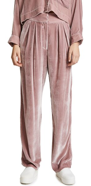 Mara Hoffman josephine velvet pants in mauve - High-waisted Mara Hoffman pants crafted in pale, plush...