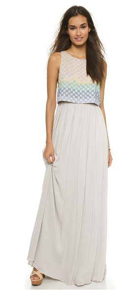 Mara Hoffman Linen beaded gown in taupe - This Mara Hoffman maxi dress has a boxy shell overlay...