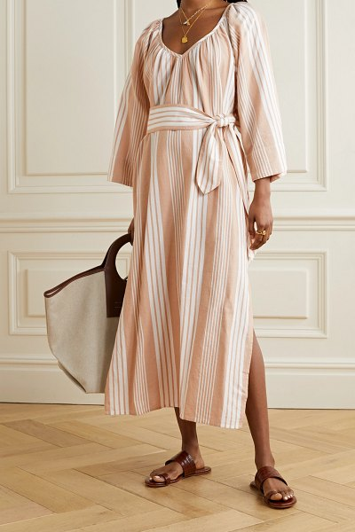Mara Hoffman net sustain luz striped tencel lyocell and organic cotton-blend midi dress in sand