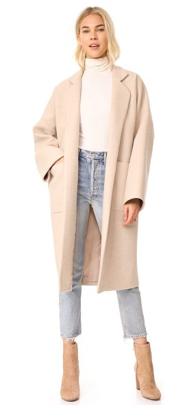 Mara Hoffman rita coat in tan - A simple Mara Hoffman overcoat in soft wool. Notched...