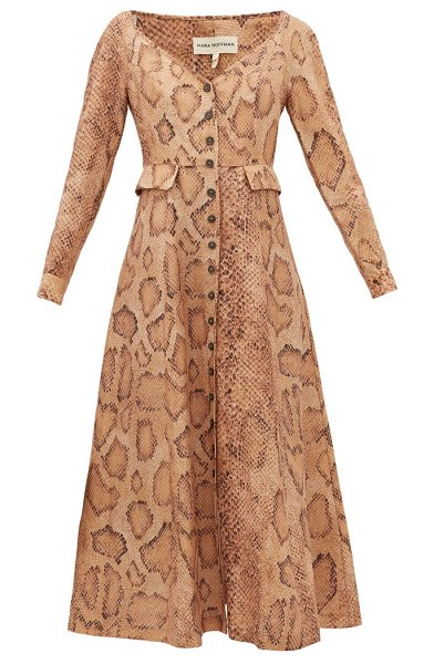 Mara Hoffman silvana snake-print tencel-blend shirt dress in cream print