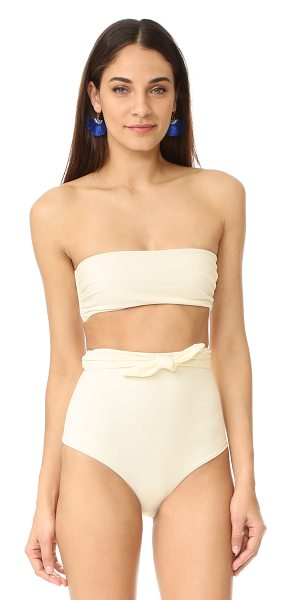 Mara Hoffman tie back bikini top in cream - A sleek Mara Hoffman bikini top with ruching at the...