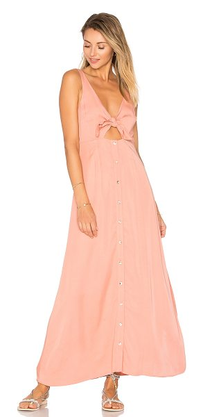 Mara Hoffman Tie Front Midi Dress in peach - Viscose blend. Fully lined. Front button with tie...