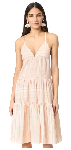Mara Hoffman tiered dress in peachy pink - Pastel stripes add soft color to this relaxed Mara...