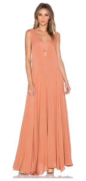 Mara Hoffman V-neck maxi dress in tan - 100% rayon. Dry clean only. Unlined. Cut-out detail....
