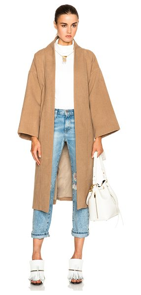 Mara Hoffman Wool wrap coat in neutrals - 90% poly 10% viscose.  Made in India.  Open front.  Tie...