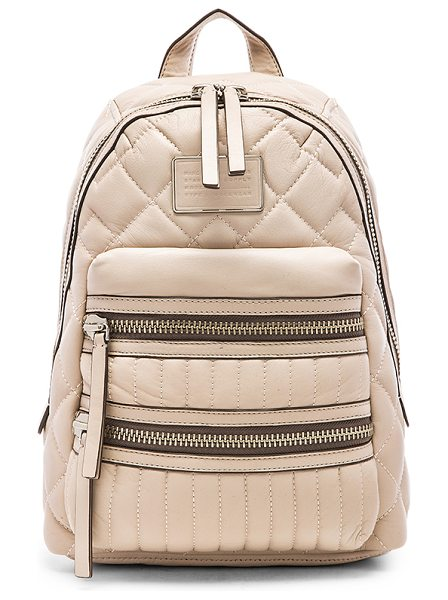 MARC BY MARC JACOBS Domo biker quilted backpack in beige - Quilted leather exterior with cotton fabric lining....