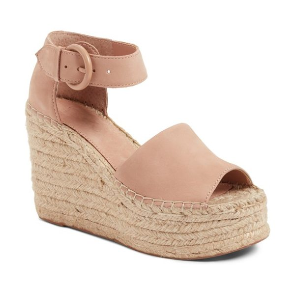 MARC FISHER LTD alida espadrille platform wedge in pink - Layers of artfully-braided jute wrap around the...
