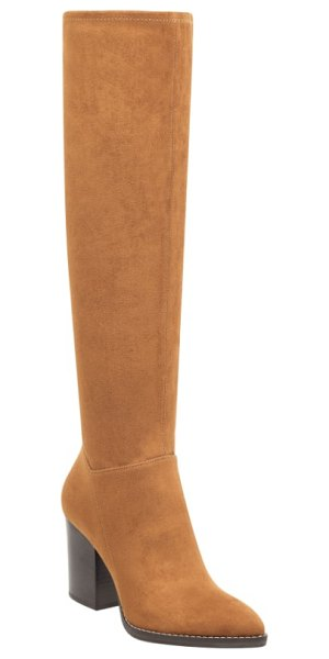 MARC FISHER LTD anata knee high boot in brown - A block heel grounds this alluring knee-high boot in...