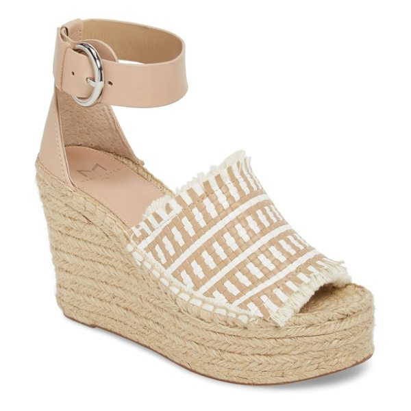 MARC FISHER LTD andrew espadrille wedge sandal in tan/ white leather - A two-tone woven upper with fringed edges styles a...