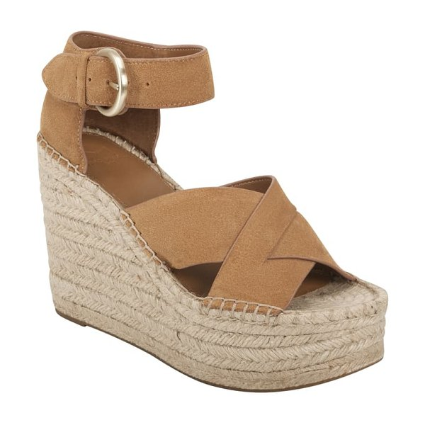 MARC FISHER LTD amari ankle strap espadrille wedge in beige