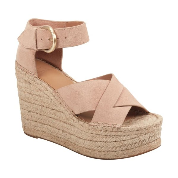 MARC FISHER LTD amari ankle strap espadrille wedge in brown