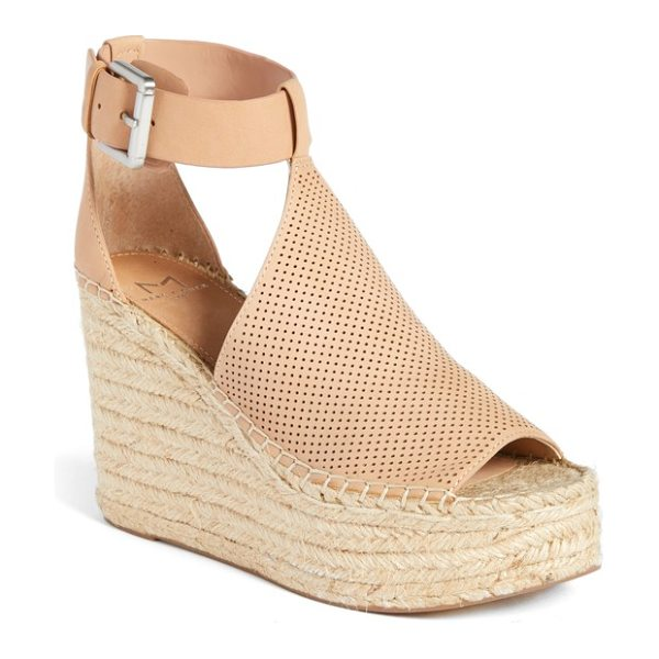 MARC FISHER LTD annie perforated espadrille platform wedge in blush suede - A perforated vamp connects an open toe and cutout ankle...