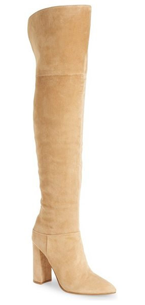 MARC FISHER LTD 'breley' over the knee boot in tan suede - Lush suede is shaped into a must-have over-the-knee boot...
