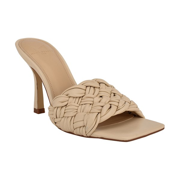 MARC FISHER LTD Draya Woven Stiletto Slide Sandals in lt sand