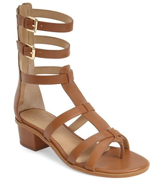 MARC FISHER LTD fawn gladiator block heel sandal in cognac leather - A series of thin leather straps wrap the foot and ankle...
