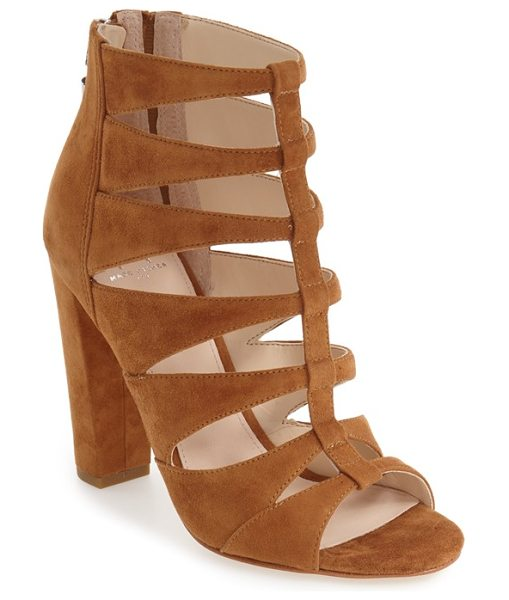MARC FISHER LTD 'hindera' gladiator sandal in cognac suede - A chunky wrapped heel elevates a modern gladiator sandal...