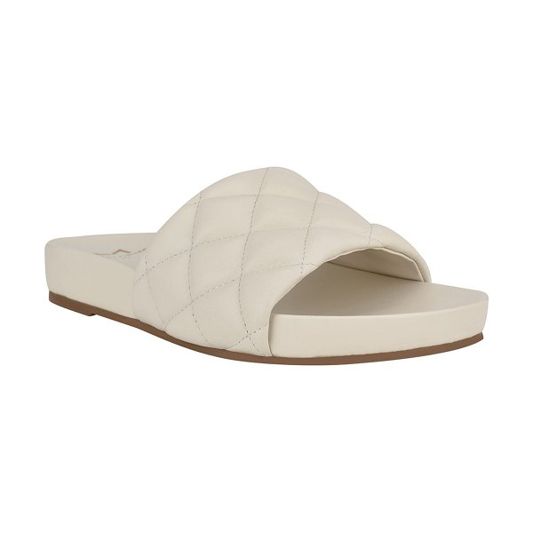 MARC FISHER LTD Imenal Quilted Slide Sandals in chick cream