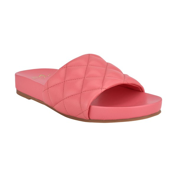 MARC FISHER LTD Imenal Quilted Slide Sandals in medium pink