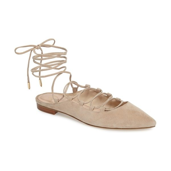 MARC FISHER LTD sbrina wraparound lace flat in straw beige suede - Cut from soft suede, this pointy-toe flat laces...