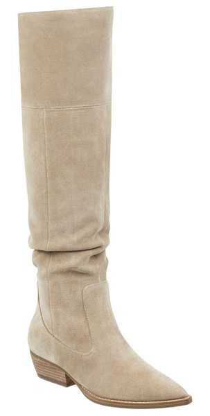 MARC FISHER LTD ocea over the knee boot in beige - A slightly slouchy shaft relaxes the silhouette of this...