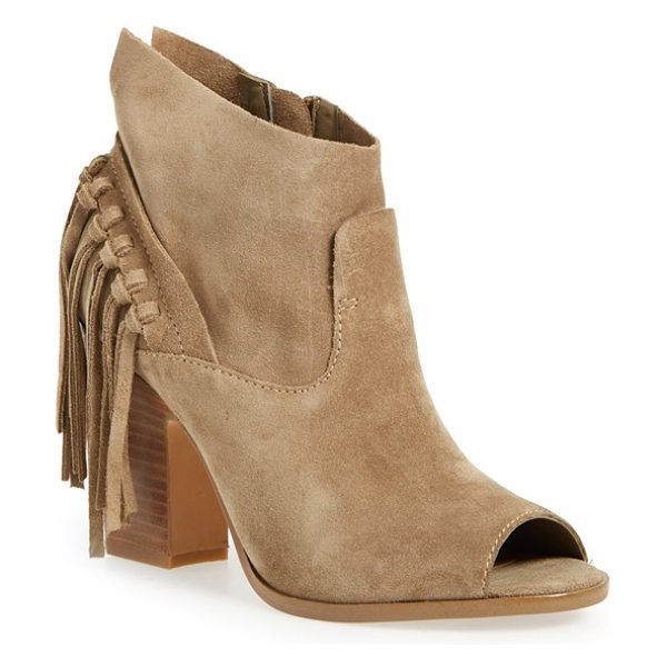 MARC FISHER LTD onita fringe peep toe bootie in dark brown suede - A curtain of sassy suede tassels dances at the heel of...