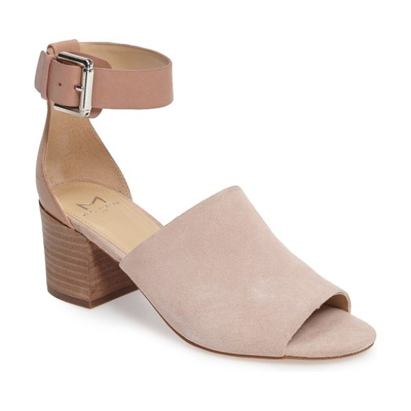MARC FISHER LTD robe sandal in blush suede - An open toe and a bold suede vamp define this versatile...