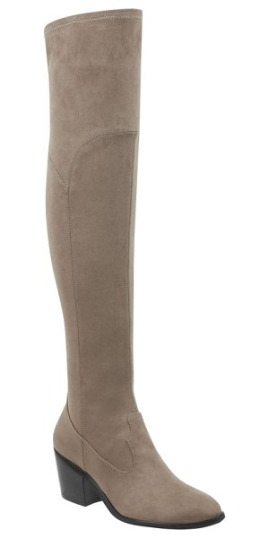MARC FISHER LTD rossa over the knee boot in taupe suede - Slip into an ultrasleek over-the-knee boot styled with a...