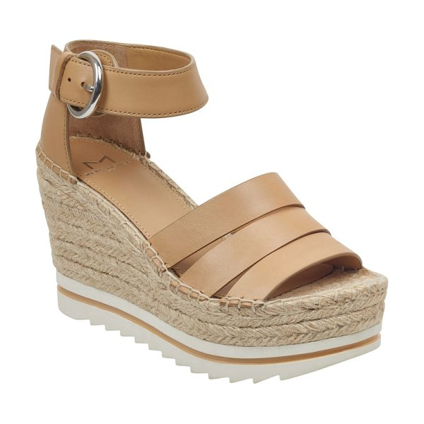 MARC FISHER LTD sammy espadrille wedge sandal in beige - A razor-tread sole adds sporty contrast to the...
