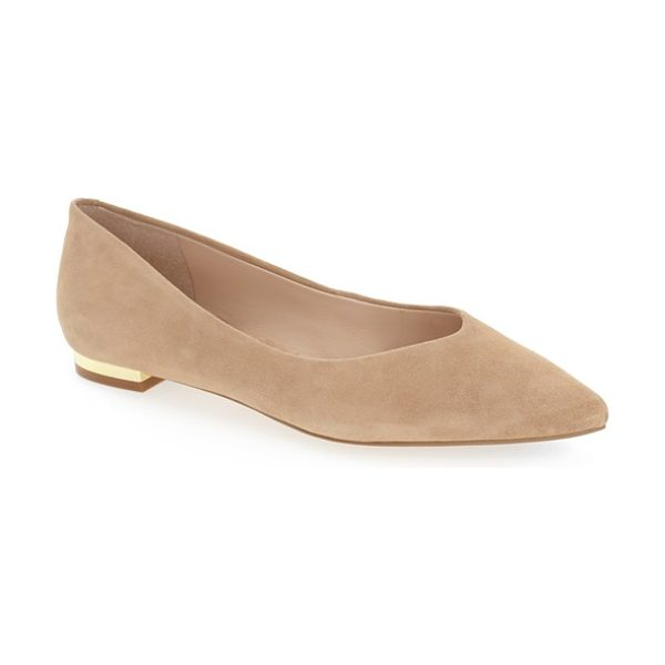 MARC FISHER LTD 'synal' pointy toe flat - A gilt heel adds a flash of minimalist sophistication to...