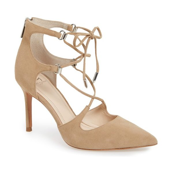 MARC FISHER LTD 'toni' lace-up pointy toe pump in tan suede - A twist on a classic pointy-toe silhouette, slender...