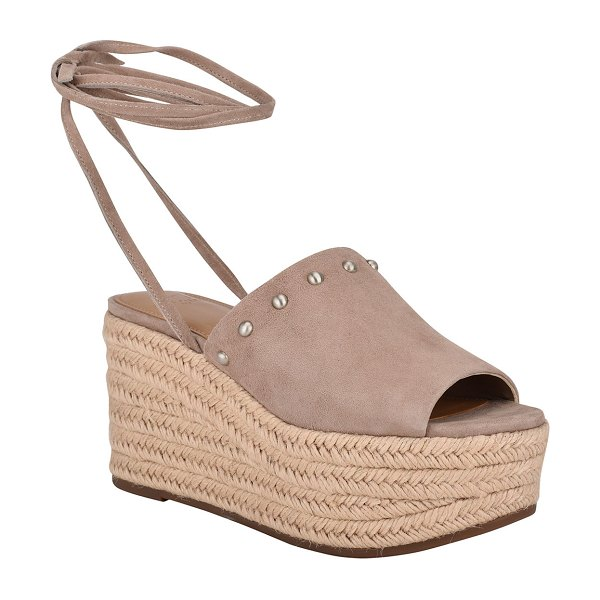 MARC FISHER LTD Verena Suede Ankle-Tie Espadrille Sandals in taupe