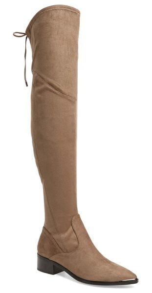 MARC FISHER LTD . yuna over the knee boot in beige - Slim laces tie at the back of a luxe boot crafted in a...