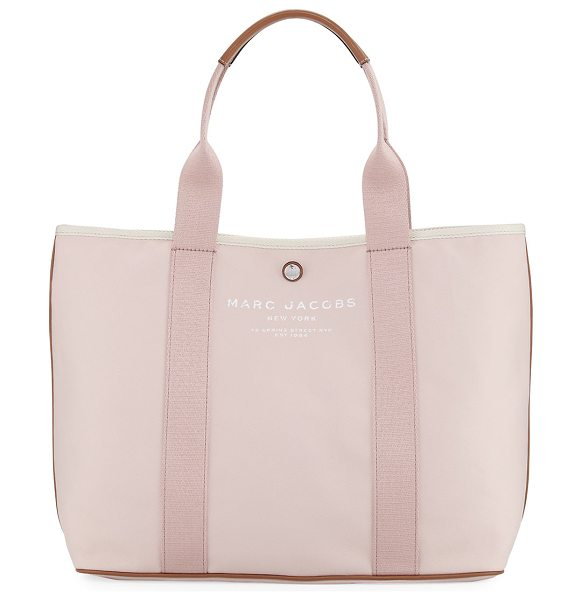 MARC JACOBS Canvas Shopper Tote Bag - Marc Jacobs canvas tote bag with leather trim. Rolled...