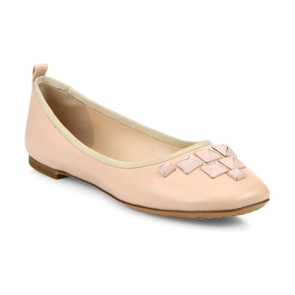 Marc Jacobs cleo studded leather ballet flats in nude - Studded accents elevate these leather ballerinas. Lamb...