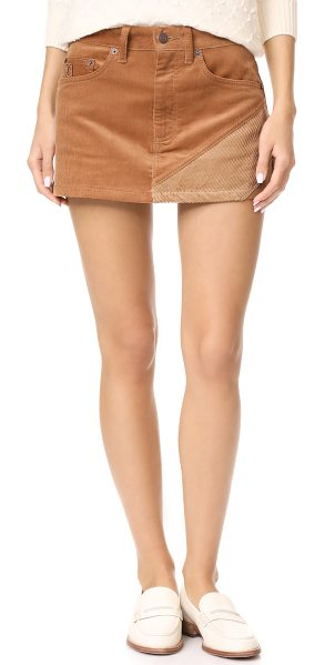 Marc Jacobs combo miniskirt in tan - An angular contrast panel accents this Marc Jacobs...