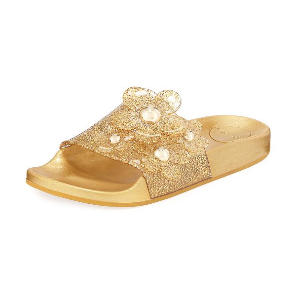 Marc Jacobs Daisy Pave Aqua Pool Slide Sandal in gold - Marc Jacobs glitter PVC pool sandal with daisy appliqu....